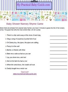 Give Your Guests A List Of Nursery Phrases From Popular Nursery Rhymes, Ask  Them To · Baby Shower GamesNursery ...