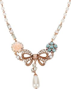 VINTAGE BOW PEARL BOW NECKLACE MULTI accessories jewelry necklaces fashion