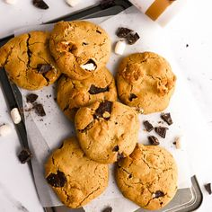 S'mores Cookies | cocobella Healthy Biscuits, Vegan Marshmallows, Hydrating Drinks, Smores Cookies, Oat Flour, Coconut Sugar, Whole Food Recipes, Deserts, Cakes