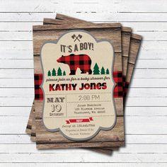 Lumberjack baby shower invitation. Rustic wood bear by CrazyLime