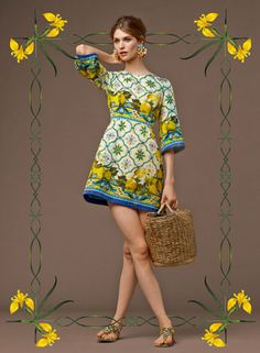 Look of the Day Dolce Gabbana Fall 2014 Pre Collection Womenswear  Majolica  and Lemons Print Brocade Dress d8ad0ea7a697
