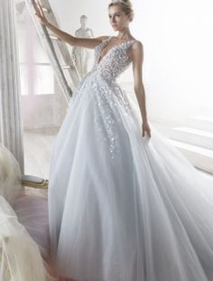 nicole spose 2018 bridal sleeveless deep v neck heavily embellished bodice romantic blue ball gown wedding dress open back chapel train mv -- Nicole 2018 Bridal Collection Luxury Wedding Dress, Colored Wedding Dresses, Perfect Wedding Dress, Bridal Dresses, Wedding Gowns, Wedding Dress Blue, Blue Ball Gowns, Tulle Ball Gown, Look Girl