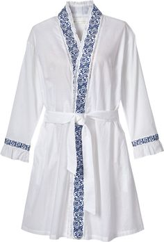 Our Eileen West embroidered wrap around robe beautifully defines your figure. This short navy wrap robe is made from 100 percent cotton. Pyjamas, Pijamas Women, Casual Work Attire, Arabic Dress, Nightgowns For Women, Sleepwear Women, Alter, Pattern Fashion, Nightwear