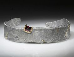 Jacob Albee Cuff bracelet in Gibeon Meteorite with 24k gold inlay, 18k gold, diamonds, and a spinel