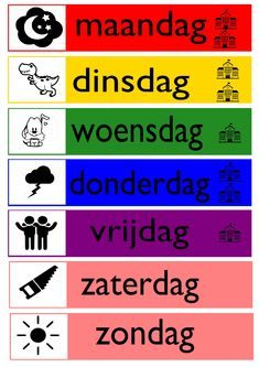 Dagen van de week - Gratis te downloaden! Preschool Prep, Preschool Worksheets, School Tool, School Hacks, Primary Education, Kids Education, English Activities, Toddler Activities, Learn Dutch
