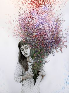 "wryer:  Here is my latest drawing, based on Natalya Lobanova's quote ""I tried to draw my soul but all I could think of was flowers"" I'm tryi..."