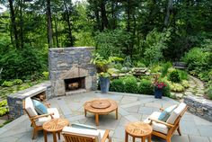 Old fire pit area; put fireplace so that it blocks the view from the neighbors.
