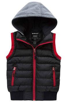 LittleSpring Toddler Boy Fleece Vests Zipper Solid Orange 4T