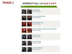 PHASE 1 Workout Day 1 of weeks 3 and 4