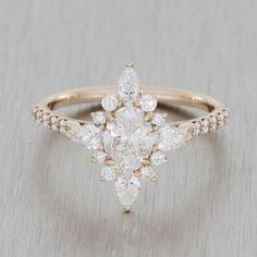 Rose gold vintage ballerina engagement ring//