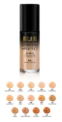 Milani 2in1 foundation and concealer shades<<I have this now and I love it. Only complaint is that after a while of using it.... it just doesn't seem to last. Doesn't do what it did in the beginning for my skin type.