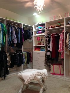 Teen Closet Expansion Complete With Drawers, Comfy Ottoman And Chandelier!