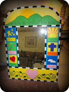 Custom Mirror my daughter's 4th grade class made for an auction.  My daughter is now 15 and outgrown it. :0(  It's still one of my favorite things....