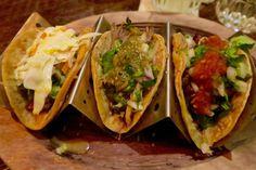 A trio of red snapper, steak and carnitas tacos! So delicious at Taco Diablo in Evanston.