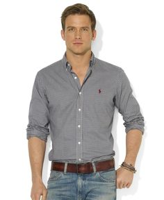 Polo Ralph Lauren Shirt, Classic-Fit Long-Sleeve Checked Sueded Twill Shirt