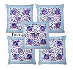 "Indian Block Print Pillow Case 16""Cushion Cover Throw Cushion Cover Floral Print #Handmade #ArtDecoStyle Throw Cushions, Pillows, Indian Block Print, Art Deco Fashion, Pillow Cases, Floral Prints, Quilts, Blanket, Cover"