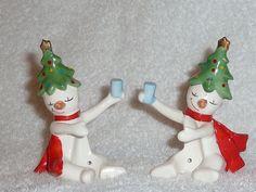 Vintage Christmas Holt Howard 'Ole Snowy' Tipsy Snowman Candle Climber Huggers | eBay