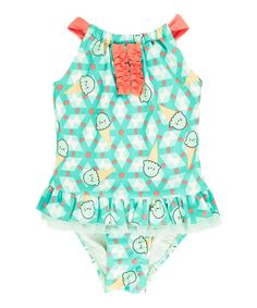 Look at this Teal Yoke Ice Cream Skirted One-Piece - Toddler & Girls on #zulily today!