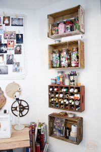 Crate Shelves from Natalme - Fabulous creative storage solutions for your studio! via hearthandmadeuk #craftstorage #craft #craftsupplies #craftroom