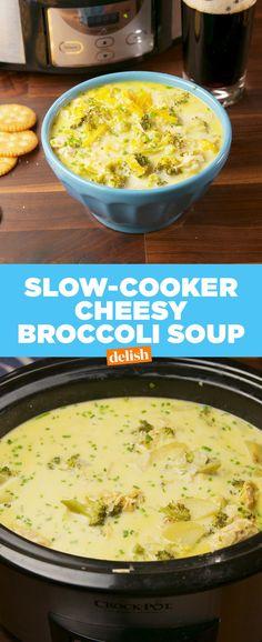 Crock-Pot Cheesy Chicken Broccoli Soup Delish