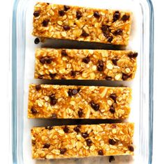 these Chewy Peanut Butter Granola Bars! This recipe is easy to make with 7 main ingredients (plus chocolate chips, if you'd like), it's full of protein and naturally and totally delicious. An awesome healthy breakfast or snack! Granola Bars Peanut Butter, Chocolate Chip Granola Bars, Chewy Granola Bars, Homemade Granola Bars, Chocolate Chips, Chocolate Protein, Granola Protein Bars, Gimme Some Oven, Gourmet Recipes