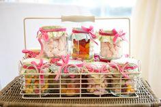Wedding favours - jam jars full of sweets!