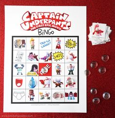 Captain Underpants Movie Night Ideas with Free Printable Captain Underpants Bingo Birthday Party Games, Boy Birthday, Birthday Ideas, Captain Underpants Games, Dav Pilkey Dog Man, Scooby Doo Movie, Dots Free, Library Activities, Epic Movie