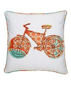 Orange Bicycle Zanzibar Pillow by Levtex Home #zulilyfinds