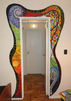 Doorway funky design in paint or mosaic. Could do around a mirror as well Mirror Mosaic, Mosaic Wall, Mosaic Glass, Mosaic Tiles, Stained Glass, Glass Art, Tiling, Mosaic Crafts, Mosaic Projects