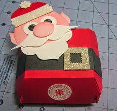 Krafting with Karen: Christmas in July Week Santa Hamburger Box Stampin' Up! Christmas Punch, Stampin Up Christmas, Christmas In July, Christmas Paper Crafts, Christmas Projects, Holiday Crafts, Paper Punch Art, Punch Art Cards, Hamburger Box