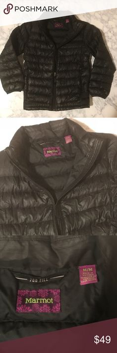 "Marmot Girls Down Jacket 700 fill Black Marmot Girls Down Jacket 700 Fill Color: Black Size: M  Shell 100% Polyester Lining 100% polyester  Insulation: Duck Down, minimum 85% Down  Lightweight, quilted Zip pockets  Preowned, lightly worn, in great shape/condition with tons of wear left!  Pit-to-pit: 15"" Marmot Jackets & Coats"