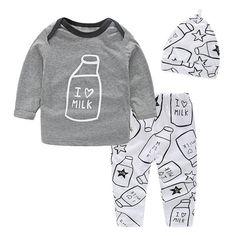 71203716b93f Baby Boys Clothing Long Sleeve T Shirt Pant Hat 3PC Baby Boy Newborn