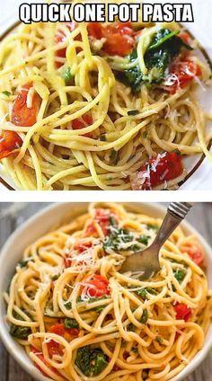 Pasta Recipes, Diet Recipes, Vegetarian Recipes, Chicken Recipes, Cooking Recipes, Healthy Recipes, Spinach Recipes, One Pot Meals, Easy Meals
