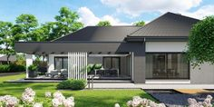 DOM.PL™ - Projekt domu CPT HomeKONCEPT-68 CE - DOM CP1-82 - gotowy koszt budowy Contemporary House Plans, Modern House Plans, Modern House Design, Single Storey House Plans, One Storey House, Modern Bungalow Exterior, Modern Bungalow House, Flat Roof House, Facade House