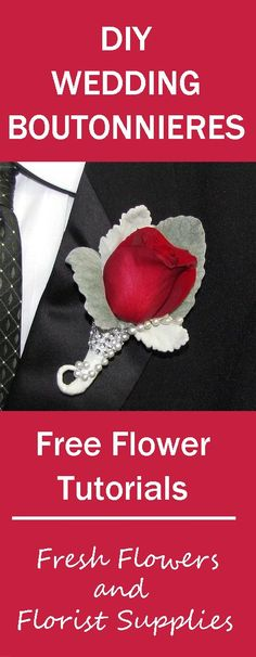 DIY Boutonniere Tutorial - Learn How to Make a Rose Boutonniere  Learn how to make bridal bouquets, corsages, boutonnieres, table centerpieces and church wedding decorations.  Buy wholesale flowers and discount florist supplies.