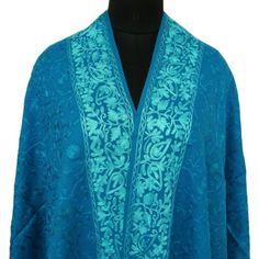 "Amazon.com: Ibaexports 100% Pure Wool Shawl Kashmir Chain Stitch Turquoise Thread Embroidered Pashmina - 80"" X 28"""