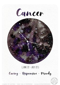 Astrology Card - Cancer Sign - Horoscope - Cancer Constellation - Watercolor Planet - Galaxy Illustration ♣ ITEM DETAILS Available sizes: -> x cm -> x inches) -> 21 x cm -> x inches) Available versions: 2 -> French -> English High-quality printing on Constellation Tattoos, Constellation Drawing, Cancer Tattoos, Zodiac Tattoos, Taurus Tattoos, Zodiac Art, Zodiac Signs, Pisces Zodiac, Zodiac Cancer
