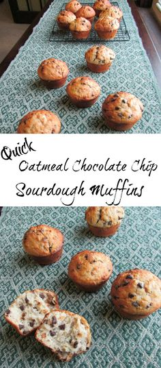 These muffins are a quick and delicious way to use your sourdough starter.  The oatmeal and whole wheat flour leave you feeling full and the chocolate chips leave you feeling happy!  You are going to love these oatmeal and chocolate chip sourdough muffins!
