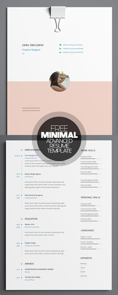 Free Minimal Advanced Resume Template                                                                                                                                                                                 More