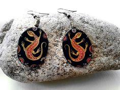 Ohrhänger - Eidechsen-Ohrringe, Salamander-Ohrringe - ein Designerstück von Amapola_roja bei DaWanda