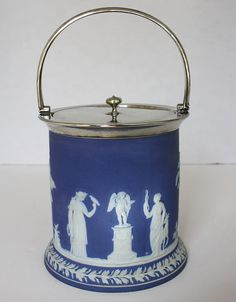 Antique Wedgwood Jasper Dip Blue Biscuit Barrel Jar. #Blue. #FrenchGardenHouse. #frenchgardenhousestyle