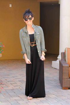 black maxi dress/skirt, gold jewelry, braided belt, cargo jacket