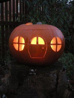 Pumpkin house - gnome house, fairy house, or just a really cute jack-o-lantern!