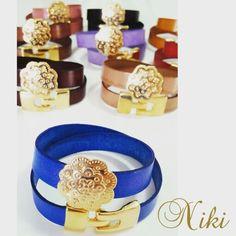 Pulseras o brazaletes elaborados en cuero italiano. Accesorios exclusivos de Niki Diseños - Instagram: @nikidisenosapc - Twitter: @nikidisenosapc - Facebook: Niki Diseños Accesorios - Pin BlackBerry: 58E1A4D9 - Canal PIN BB: C002B2056 - Correo: nikidisenosapc@gmail.com