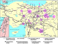 Map of the 1915 Armenian Genocide in the Turkish Empire Armenian History, European History, World History, Family History, Armenian Military, Geography Map, Magna Carta, Old Maps, Interesting Reads