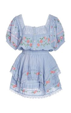 Bentley Embroidered Cotton-Voile Mini Dress by LoveShackFancy Kpop Fashion Outfits, Cute Fashion, Womens Fashion, Hippie Fashion, Pretty Outfits, Pretty Dresses, Cool Outfits, Kawaii Clothes, Looks Style