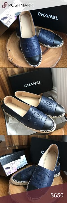 Chanel Espadrilles Navy Black Lambskin Leather 39 % Authentic! Worn Once Indoors - LIKE NEW - see pics to see all details  - Sold Out in Stores - SIZE 39 - ⭐️I wear from size 7-8.5 in other shoes so it fits those sizes⭐️ Let me know if you have questions! CHANEL Shoes Espadrilles