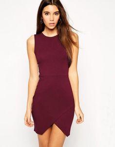 Shop Wine Red Sleeveless Split Bodycon Dress online. Sheinside offers Wine Red Sleeveless Split Bodycon Dress