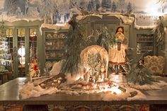 Christmas Dinning room detail, Santa and reindeer candy container