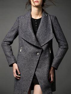 Shop Coats - H-line Long Sleeve Lapel Casual Plain Coat online. Discover unique designers fashion at StyleWe.com.
